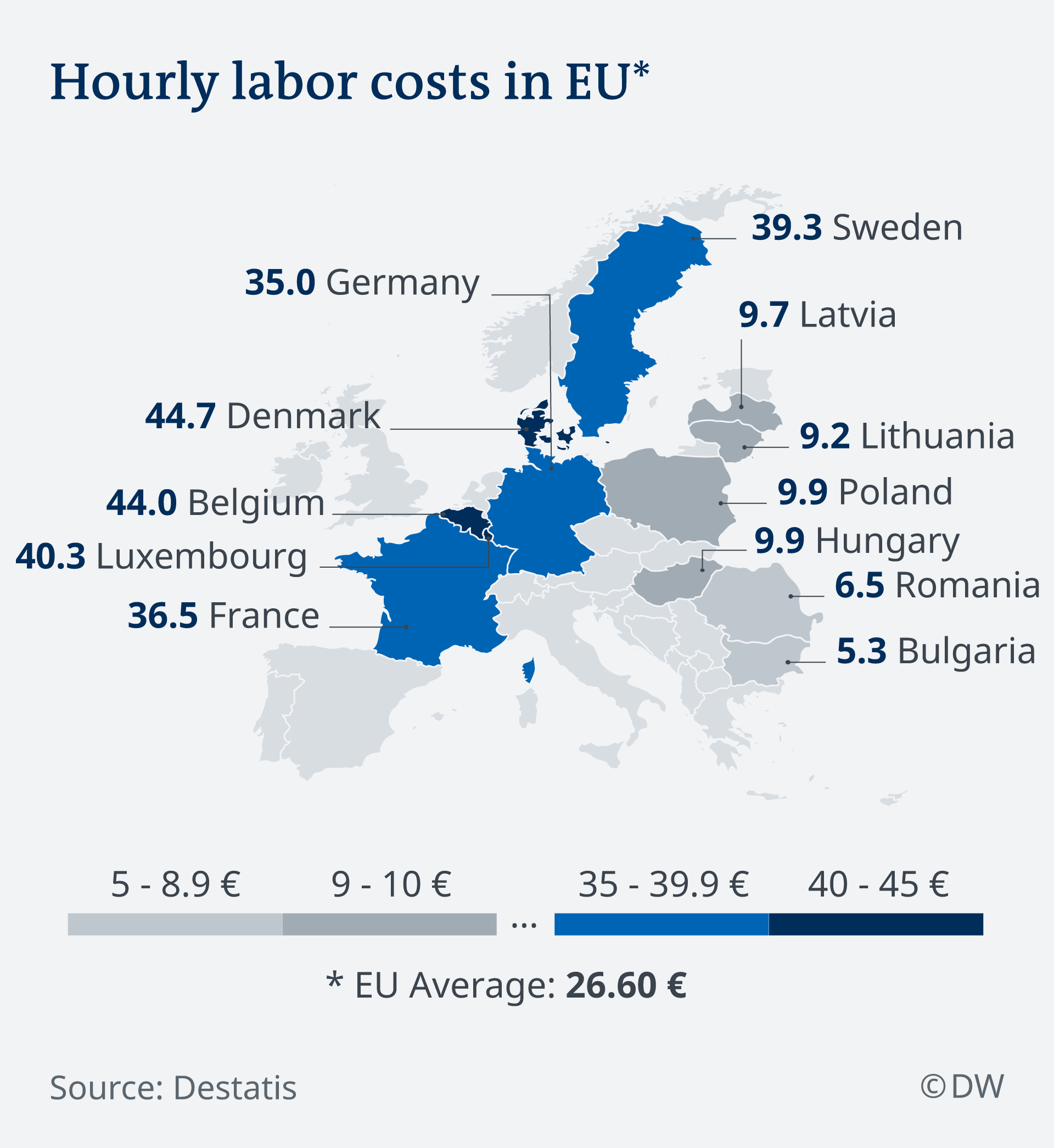 Map showing hourly labor costs in top- and bottom-tier countries