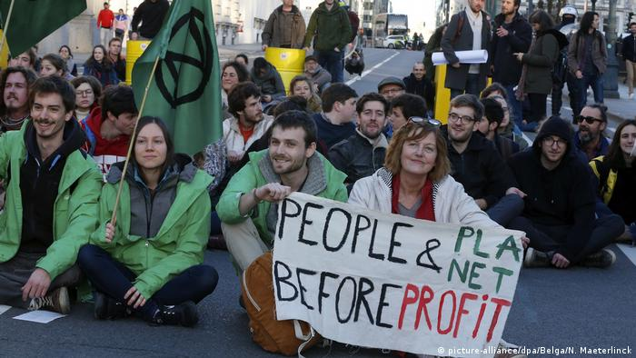 Environmental activists protest in Brussels