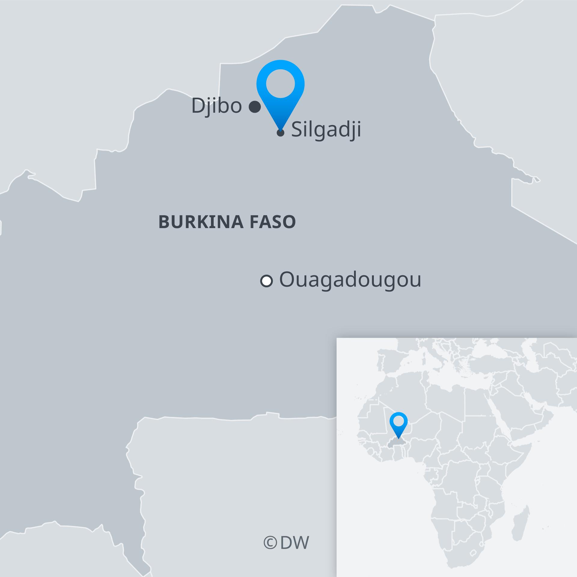 Infografik Karte Burkina Faso mit Ouagadougou, Djibo, Silgadji