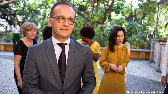 Foreign Minister Heiko Maas talks to reporters in Salvador Da Bahia, Brazil after inaugurating a new network promoting women's rights