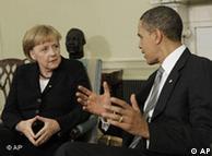Barack Obama and Merkel at talks in Washington