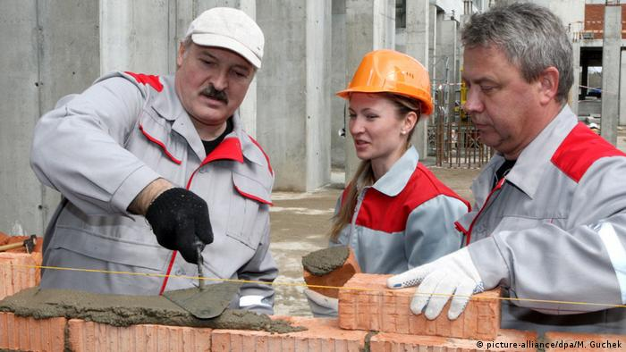 Alexander Lukashenko visiting a construction site in Minsk
