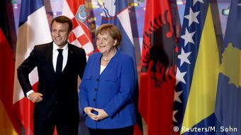 Эмманюэль Макрон и Ангела Меркель на саммите стран Западных Балкан в апреле 2019 года
