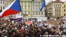 People hold up placards which read Justice as they take part in a rally demanding the resignation of Czech Prime Minister Andrej Babis at the Old Town Square in Prague on April 29, 2019. (Photo by Michal Cizek / AFP) (Photo credit should read MICHAL CIZEK/AFP/Getty Images)