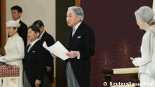 30.04.2019+++ Japan's Emperor Akihito, flanked by Empress Michiko, Crown Prince Naruhito and Crown Princess Masako, delivers a speech during a ritual called Taiirei-Seiden-no-gi, a ceremony for the Emperor's abdication, at the Imperial Palace in Tokyo, Japan April 30, 2019. Japan Pool/Pool via REUTERS JAPAN OUT. NO RESALES. NO ARCHIVES.