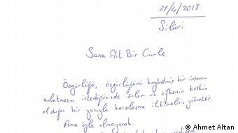 Handschrift des inhaftierten Journalist Ahmet Altan (Ahmet Altan)