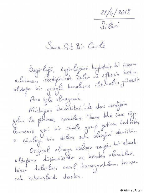 Handschrift des inhaftierten Journalist Ahmet Altan