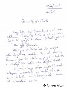 Ahmet Altan's hand-written essay for DW (Ahmet Altan)