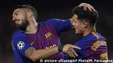 Fußball FC Barcelona Luis Suarez und Philippe Coutinho