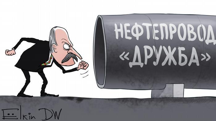 Карикатура СЕргея Ёлкина на тему загрязненной нефти в нефтепроводе Дружба