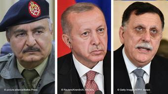 Kombibild - Erdogan, Khalifa Haftar, Fajis al-Sarradsch