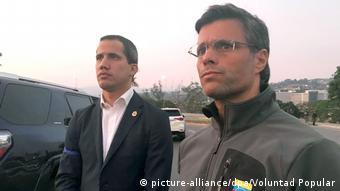 Временный президент Венесуэлы Хуан Гуайдо и его сторонник оппозиционер Леопольдо Лопес