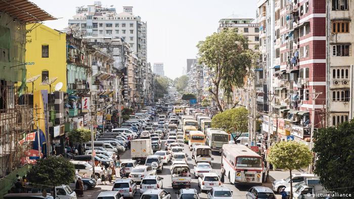 A congested city street in Yangon, Myanmar