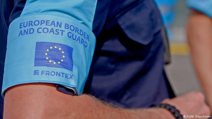 Frontex logo on an border guard's armband