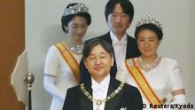 Japan's Emperor Naruhito, Empress Masako, Crown Prince Akishino and Crown Princess Kiko attend a ritual called Kenji-to-Shokei-no-gi, a ceremony for inheriting the imperial regalia and seals, at the Imperial Palace in Tokyo, Japan May 1, 2019, in this photo released by Kyodo. Mandatory credit Kyodo/via REUTERS ATTENTION EDITORS - THIS IMAGE WAS PROVIDED BY A THIRD PARTY. MANDATORY CREDIT. JAPAN OUT. NO COMMERCIAL OR EDITORIAL SALES IN JAPAN.