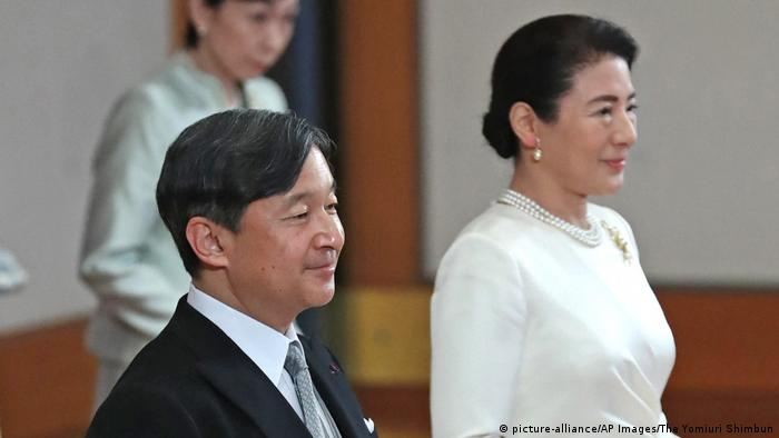 Then-prince Naruhito (l) with wife Masako (r) in March 2019