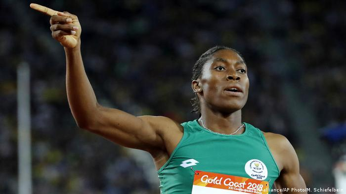 In this Friday, April 13, 2018 file photo South Africa's Caster Semenya celebrates after winning the woman's 800m final at Carrara Stadium during the 2018 Commonwealth Games on the Gold Coast, Australia.