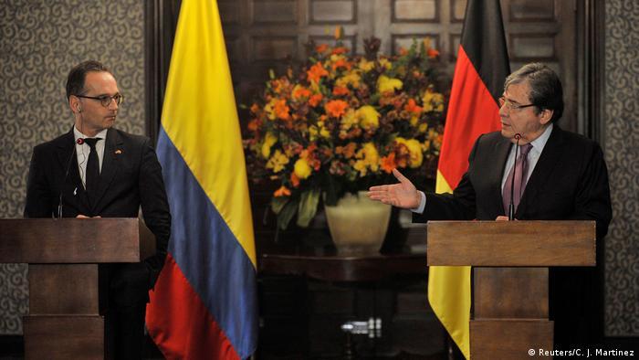 Außenminister Maas (li:) trifft den kolumbianischen Außenminister Holmes Trujillo