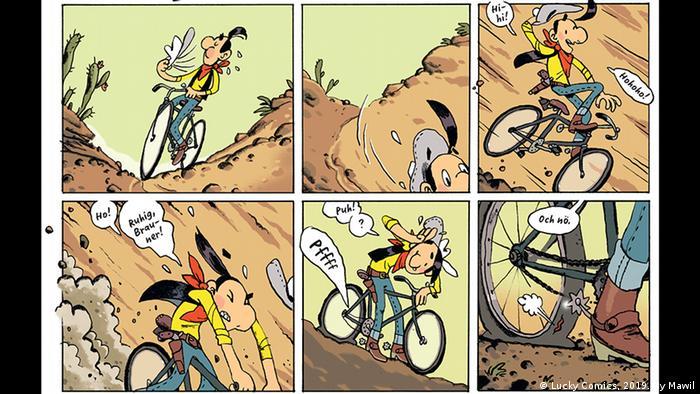Sechs Einzelzeichnungen zeigen Lucky Luke auf einer Fahrrad-Reise durch eine Geröll-Wüste, auf dem letzten Bild ist ein platter Reifen zu sehen (Copyright: Lucky Comics, 2019. By Mawil).