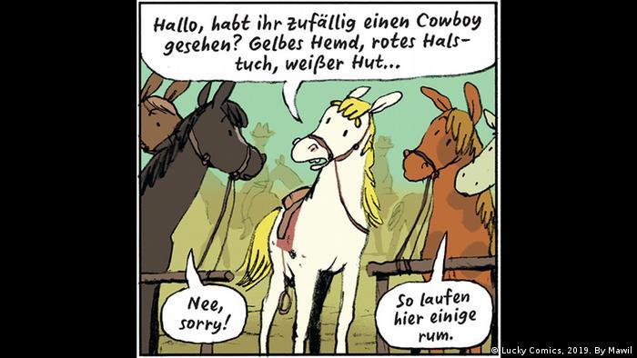 Zeichnung von Schimmel Jolly Jumper, der um ihn stehende Pferde fragt, ob sie einen Cowboy mit gelben Hemd, rotem Halstuch und weißem Hut gesehen hätten (Copyright: Lucky Comics, 2019. By Mawil).