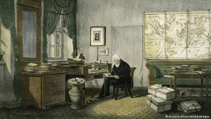Alexander v. Humboldt / E.Hildebrandt in seinem Arbeitszimmer