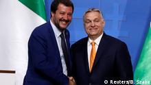 Der stellvertretende italienische Ministerpräsident Salvini und der ungarische Premierminister Orban veranstalten eine gemeinsame Pressekonferenz in Budapest