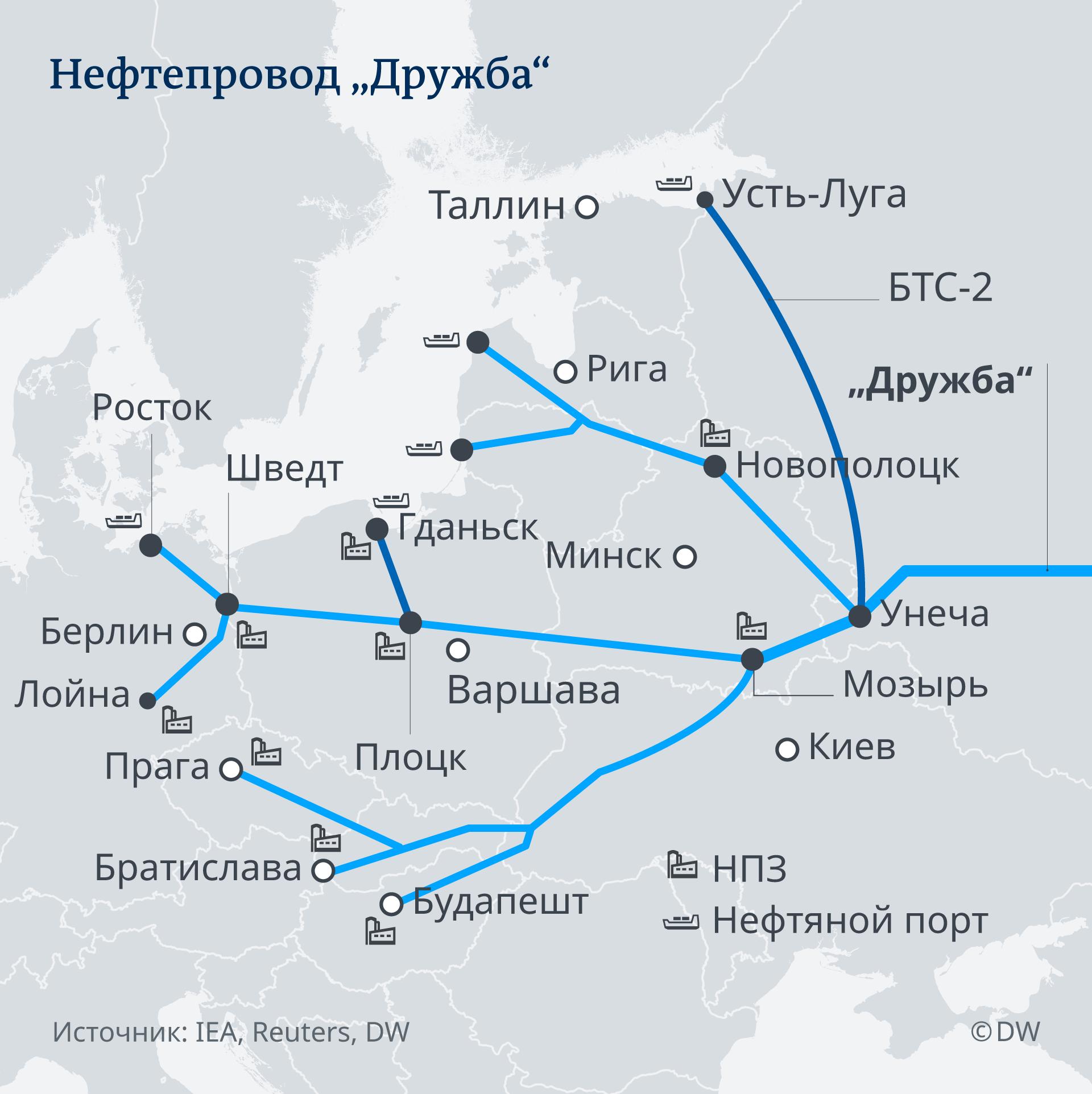 Карта нефтепровода Дружба