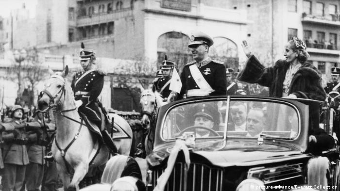 Juan Peron and his wife Eva during the president's second inaugural parade on June 4, 1952