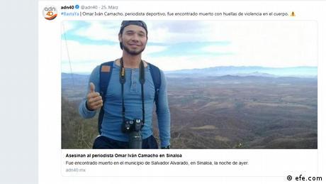 El periodista deportivo Omar Iván Camacho fue asesinado, y su cuerpo encontrado bajo un puente en La Escalera, Salvador Alvarado, estado de Sinaloa. Su cuerpo presentaba signos de violencia y huellas de esposas. Iván Camacho es el sexto periodista asesinado hasta el 24 de marzo de 2019, y el segundo asesinado en solo 10 días.