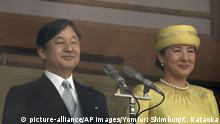 04.05.2019 Japan's Emperor Naruhito and Empress Masako appear on the balcony of the Chowa-den hall during a public appearance at the Imperial Palace in Tokyo on May 4, 2019. The General Public waved Japanese national flags to celebrate Emperor's enthronement. Emperor succeeded to the throne on May 1st. ---SEARCH Japanese Emperor's abdication YOMIURI for this series--- ( The Yomiuri Shimbun via AP Images )  