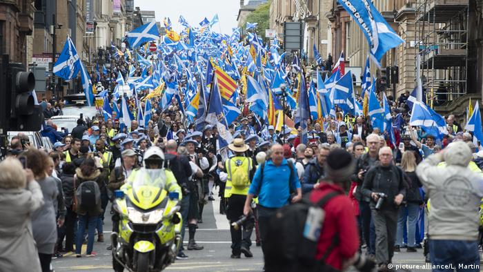 The 'All Under One Banner' march is the first since First Minister Nicola Sturgeon called for another referendum by 2021