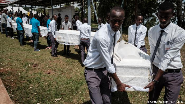 The remains of almost 85,000 victims were placed in 81 coffins