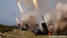 04.05.2019 +++ North Korean military conducts a strike drill for multiple launchers and tactical guided weapon into the East Sea during a military drill in North Korea, in this May 4, 2019 photo supplied by the Korean Central News Agency (KCNA). KCNA via REUTERS ATTENTION EDITORS - THIS IMAGE WAS PROVIDED BY A THIRD PARTY. REUTERS IS UNABLE TO INDEPENDENTLY VERIFY THIS IMAGE. NO THIRD PARTY SALES. SOUTH KOREA OUT. TPX IMAGES OF THE DAY