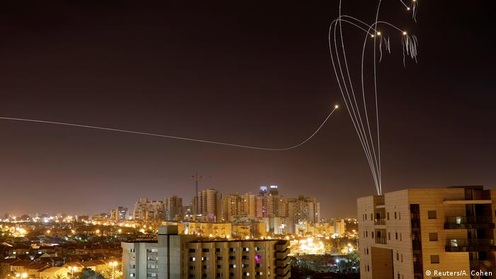 An Iron Dome anti-missile system fires interception missiles as rockets are launched from Gaza towards Israel, as seen from the city of Ashkelon on May 5, 2019