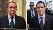 Kombobild Sergej Lawrow, Außenminister Russland & Jorge Arreaza, Außenminister, Venezuela