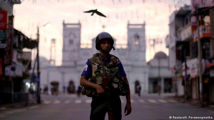 A Sri Lankan security officer in Colombo