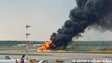 Russland l Brennendes Flugzeug von Aeroflot muss in Moskau notlanden