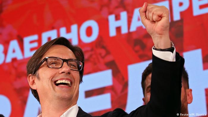 Presidential candidate of the ruling SDSM Stevo Pendarovski celebrates after preliminary results during the presidential election in Skopje