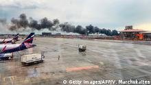 Russland, Moskau: Flugzeubrand mit Notlandung