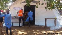 Cholera-Behandlungszentrum der WHO in Pemba, Cabo Delgado Provinz, Mosambik. Ort: Pemba / Mosambik Fotograf: Delfim Anacleto / DW Datum: 06.05.2019 Schlagworte: Pemba, Cabo Delgado, Mosambik, Zyklon, Kenneth, WHO, Cholera, Behandlungszentrum