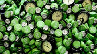 Clocks are displayed outside UN climate talks in Barcelona, Spain