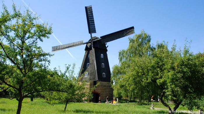 A Dutch windmill in a park with a blue sky (Imago/NBL Bildarchiv)