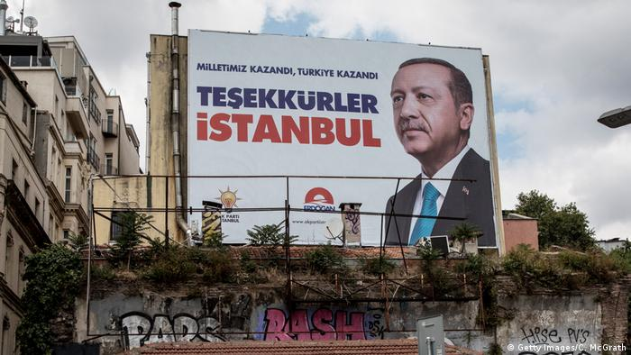 A poster of President Erdogan after his 2018 re-election, which reads: Our nation won, Turkey won, thank you, Istanbul