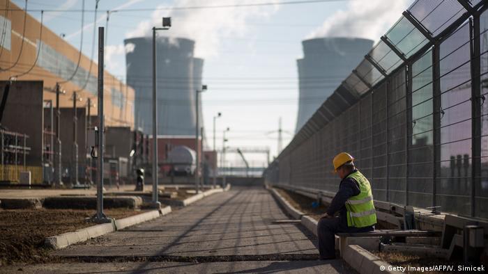 A worker takes a break in Mochovce power plant
