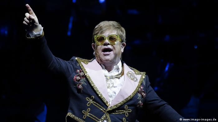 Elton John pictured during a performance in NY