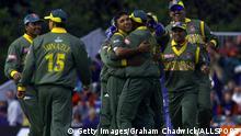 24 May 1999: Khaled Mahmud of Bangladesh celebrates taking the wicket of James Brinkley of Scotland during the match between Scotland and Bangladesh in Group B of the Cricket World Cup at The Grange, Edinburgh. Mandatory Credit: Graham Chadwick/ALLSPORT