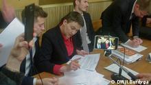 Ukrainische Politikerin Nadia Sawtschenko im Gerichtsgebäude in der Stadt Browary bei Kiew