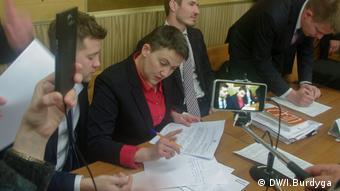 Надія Савченко в залі суду в Броварах