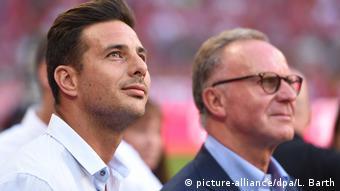 Bayern München - Bayer 04 Leverkusen 3:0 - ehemaliger Spieler Claudio Pizarro und Vorstandsvorsitzender Karl-Heinz Rummenigge