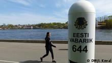 EU-Russland-Grenze - Narva Grenzpfahl